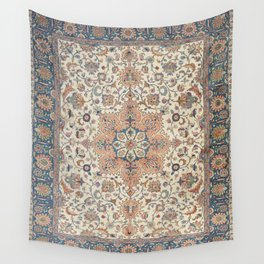 Fine Persia Tabriz Old Century Authentic Colorful Blue Rust Orange Vintage Patterns Wall Tapestry