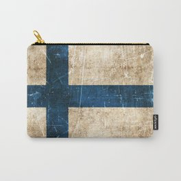 Vintage Aged and Scratched Finnish Flag Carry-All Pouch