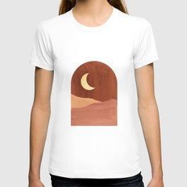 Terracotta night, abstract landscape, moon and desert T-shirt