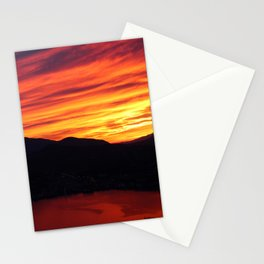 Sunset behind the mountains Stationery Cards