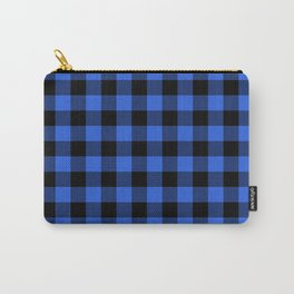 Royal Blue and Black Lumberjack Buffalo Plaid Fabric Carry-All Pouch