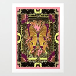 Western Style Swallow Tail Butterfly in pinks and Greenish Black Designs Art Print