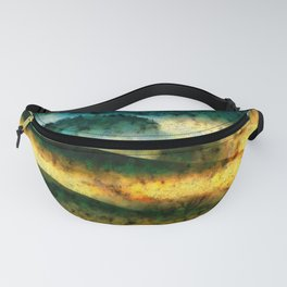 forest and hill watercolor painting Fanny Pack
