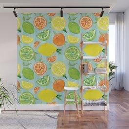 Zesty Citrus Pattern Wall Mural