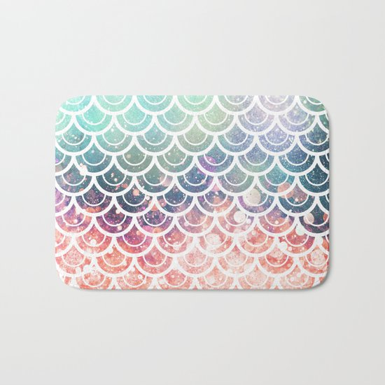 Mermaid Scales Coral and Turquoise Bath Mat