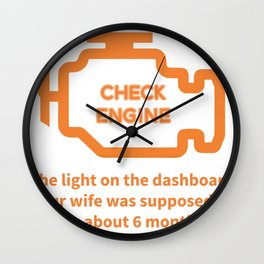 Repair Shop Car Check Engine Light Auto Mechanic Garage print Wall Clock