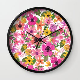 Hello floral typography Wall Clock