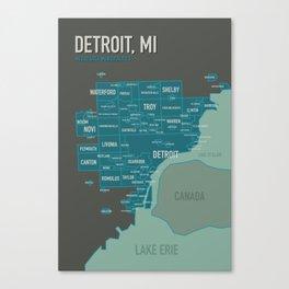 City map of Detroit Canvas Print
