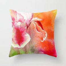 Iris, Magenta, Orange, Green DdFlowers Throw Pillow