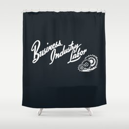 Business Industry Labor in White with Gears Shower Curtain