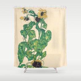 """Egon Schiele """"Sonnenblumen"""" Shower Curtain"""