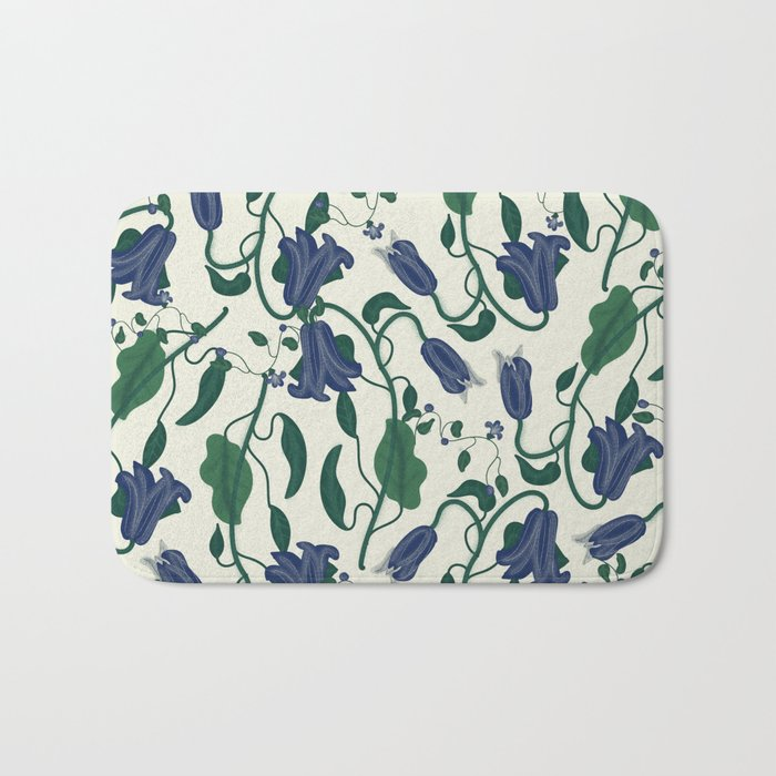 Blue Vintage Flower Pattern Bath Mat