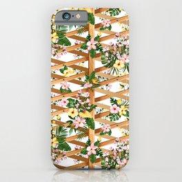 Hibiscus and Monstera Vines on Lattice iPhone Case