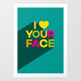Your Face (green) Art Print