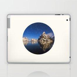 Mid Century Modern Round Circle Photo Graphic Design Swirling Star Sky Above Mountains Laptop & iPad Skin