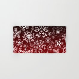 Symbols in Snowflakes on Holly Berry Hand & Bath Towel