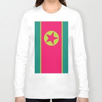 korea Long Sleeve T-shirts featuring Neon Nation NORTH KOREA by T.K.O.