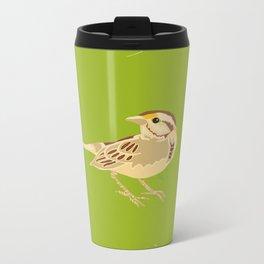 Sparrow on green Metal Travel Mug