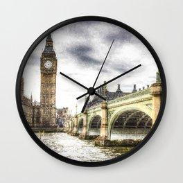 Westminster Bridge London snow Wall Clock