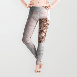 Rose gold dreaming - marble hexagons Leggings