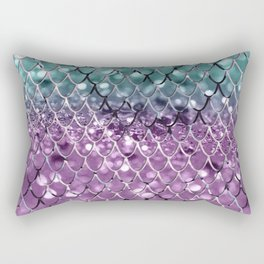 Mermaid Scales on Aqua Purple MERMAID Girls Glitter #2 #shiny #decor #art #society6 Rectangular Pillow