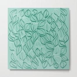 Wiggle Leaves in Mint Metal Print