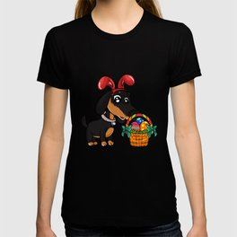 Cute Dachshund Easter Egg Hunt Dog graphic T-shirt