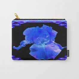 Blue-Lavender Iris Art Nouveau Pattern Art Carry-All Pouch