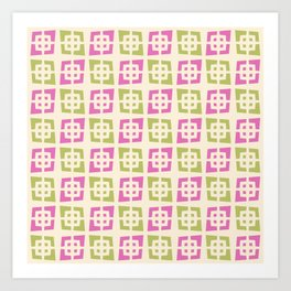 Mid Century Modern Pattern 273 Pink Chartreuse Art Print
