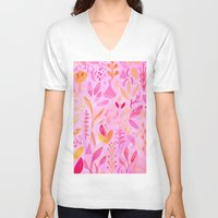 flora V-neck T-shirts featuring Flora by messy bed studio