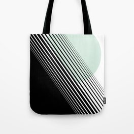 Rising Sun Minimal Japanese Abstract White Black Mint Green Tote Bag