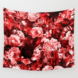 winter flowers seamless pattern 01 big lovely red Wall Tapestry