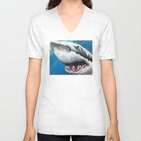 shark V-neck T-shirts featuring Shark by Kristin Frenzel
