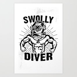 Swolly Diver Art Print