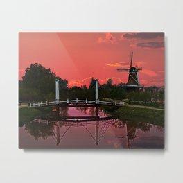 The deZwaan Dutch Windmill at Sunset Metal Print
