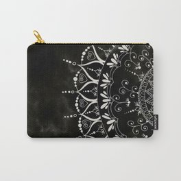 Black Floral Mandala Marble Pattern Carry-All Pouch