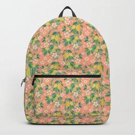 Spring garden, lemons and strawberry flowers Backpack