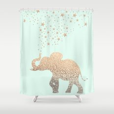 ELEPHANT - GOLD MINT Shower Curtain