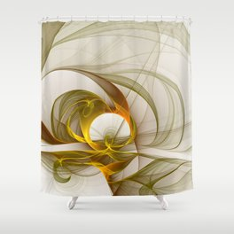 Fractal Art Precious Metals, Abstract Graphic Shower Curtain