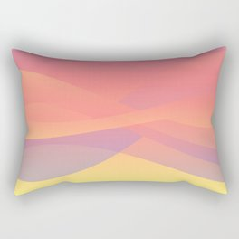 Pastel Gradient Ombre Pink, Purple, Yellow Whimsical Wavy Lines Rectangular Pillow