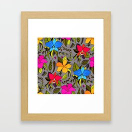 Tropical Floral on Grey Framed Art Print