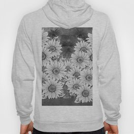 Watercolor Sunflower Pattern (Black and White) Hoody