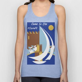 Come to the islands retro travel Unisex Tank Top