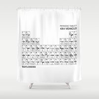 periodic table Shower Curtains featuring Periodic Table of 4x4 Vehicles by 4Explorers