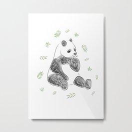Panda munching green Bamboo Leaves Metal Print