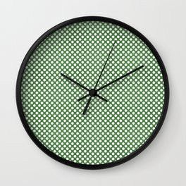 Hippie Green and White Polka Dots Wall Clock