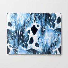 Blue Circles, Drops and Drips Metal Print