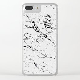 Cracks on white, gray pattern, black asymetric lines, geometric figures Clear iPhone Case