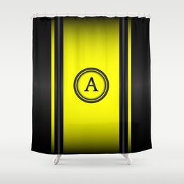 Monogram A - Black and Yellow Shower Curtain