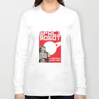 soviet Long Sleeve T-shirts featuring Retro Soviet minimalism spacerobot   by Cardula